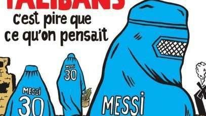 """Messi, burqas et argent qatari sur la couverture de """"Charlie Hebdo"""""""